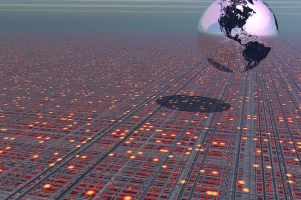 Earth globe above a tech type landscape