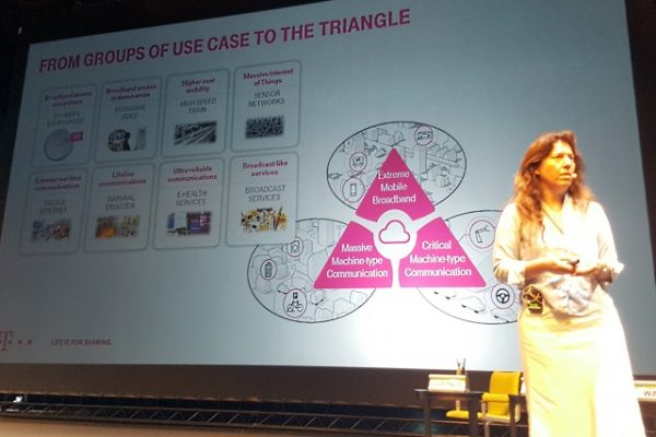 Deutsche Telekom's Antje Williams explaining the 5G Triangle
