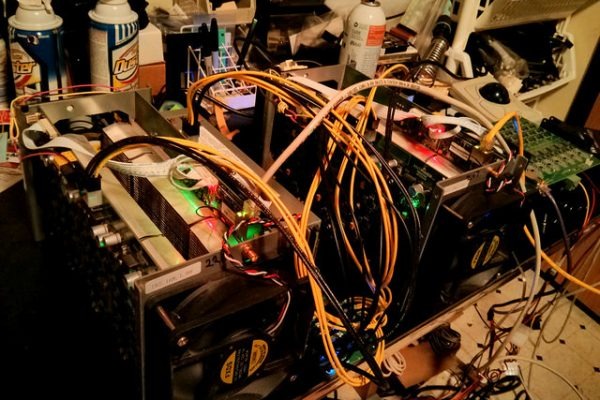 A Bitcoin mining rig from 2014. Today, the profitable ones fill entire data centers.