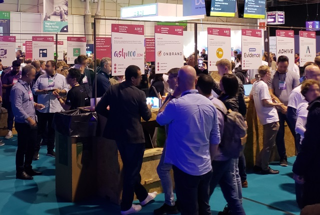 A small portion of the hundreds of rotating booths for startups that characterize WebSummit.
